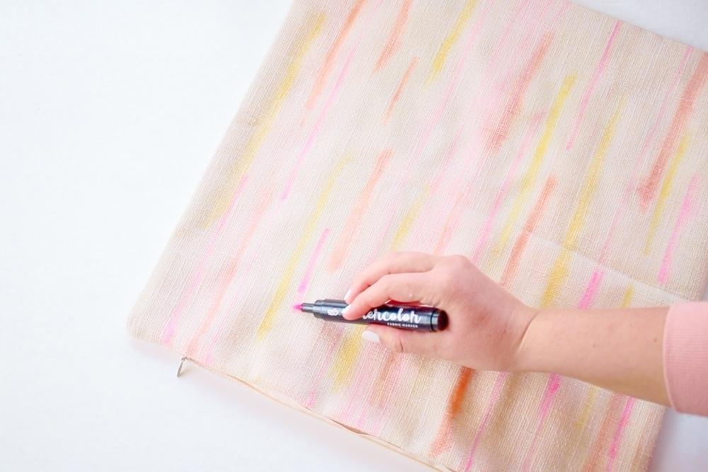 Tulip Pastel Watercolor DIY Tassel Pillows – draw more lines & spray rubbing alcohol