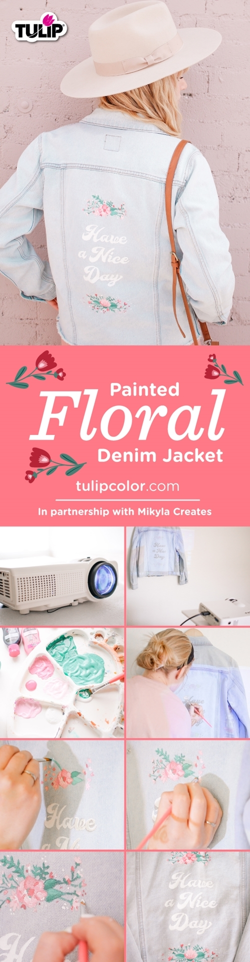 Tulip Painted Floral Denim Jacket