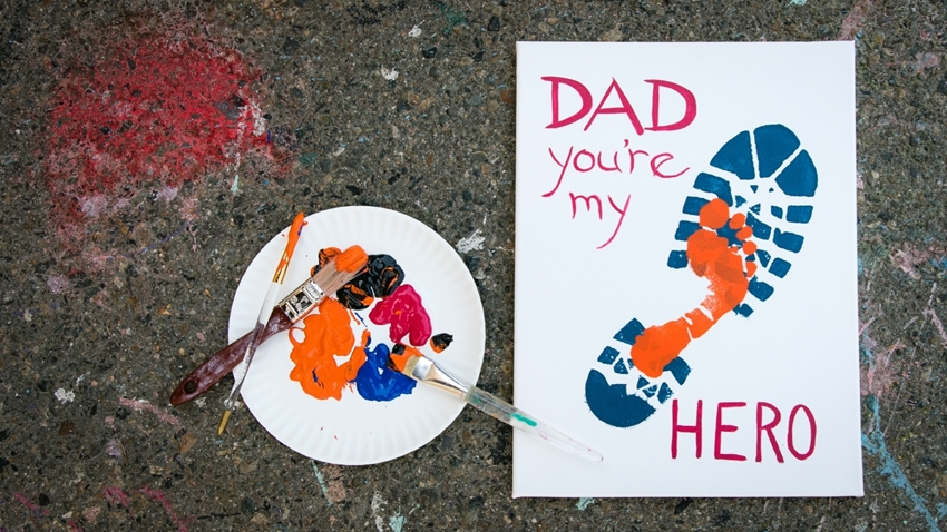 Footprint Father's Day painted canvas