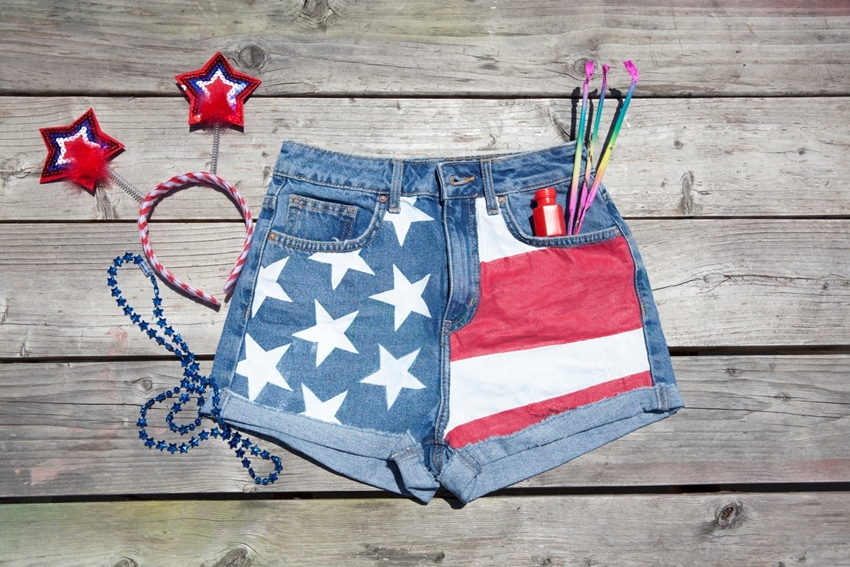 Painted Stars & Stripes Americana Shorts