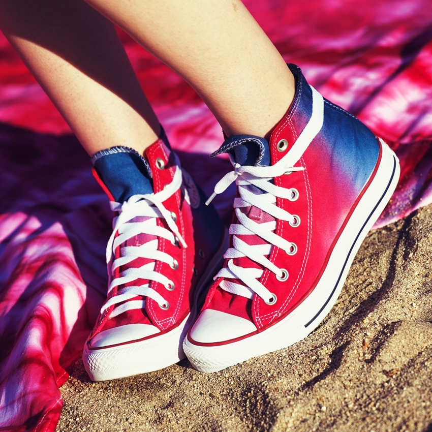Red and Blue Tie-Dye Canvas Shoes