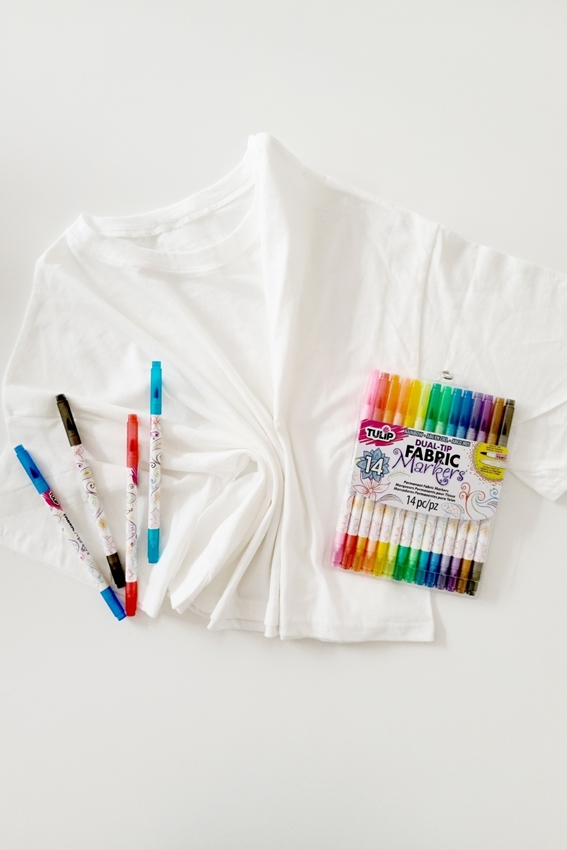 Choose marker colors and iron T-shirt smooth