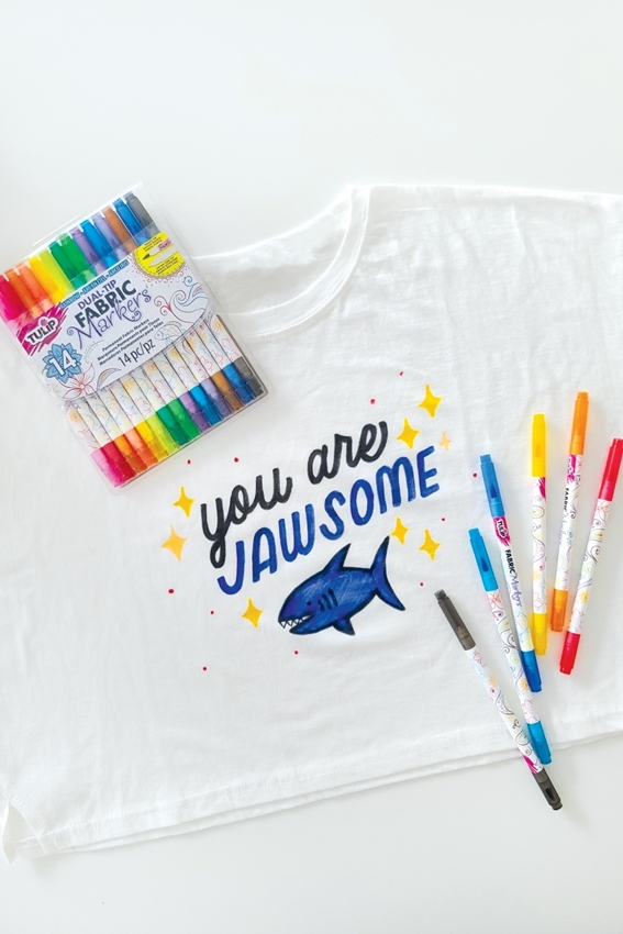 Custom Shark Week T-shirt with Tulip Fabric Markers