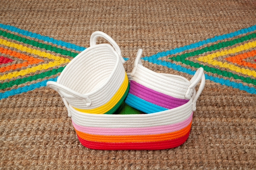 Painted Rainbow Rope Baskets