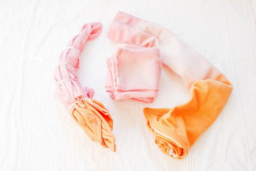 Rinse, wash and dry dyed pillow covers
