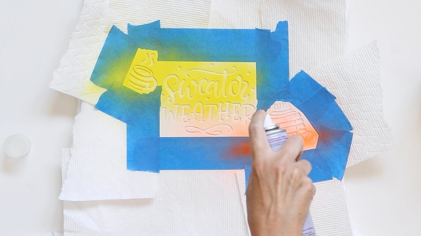 Spray ColorShot over stencil openings