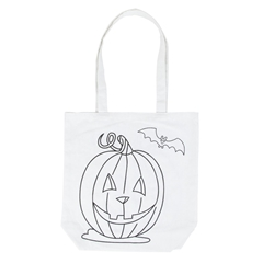 """Picture of ColorMe White Shoulder Tote """"Jack o' Lantern"""""""