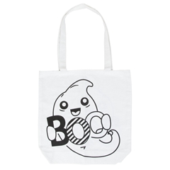 """Picture of ColorMe White Shoulder Tote """"BOO"""""""