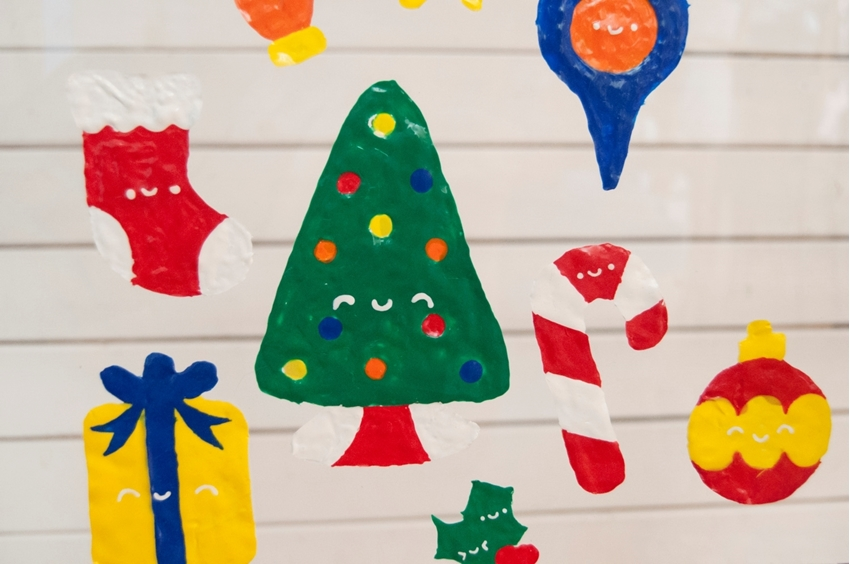 Dimensional Paint Christmas Window Clings