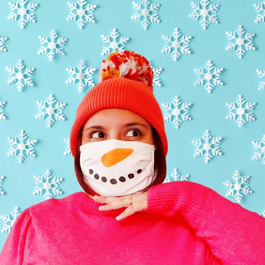 Custom Snowman Face Mask