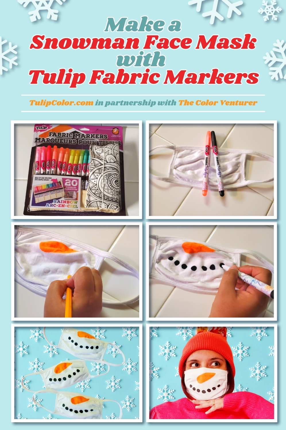 Make a Snowman Face Mask with Fabric Markers