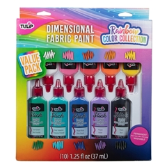Dimensional Fabric Paint Rainbow Color Collection 10 Pack