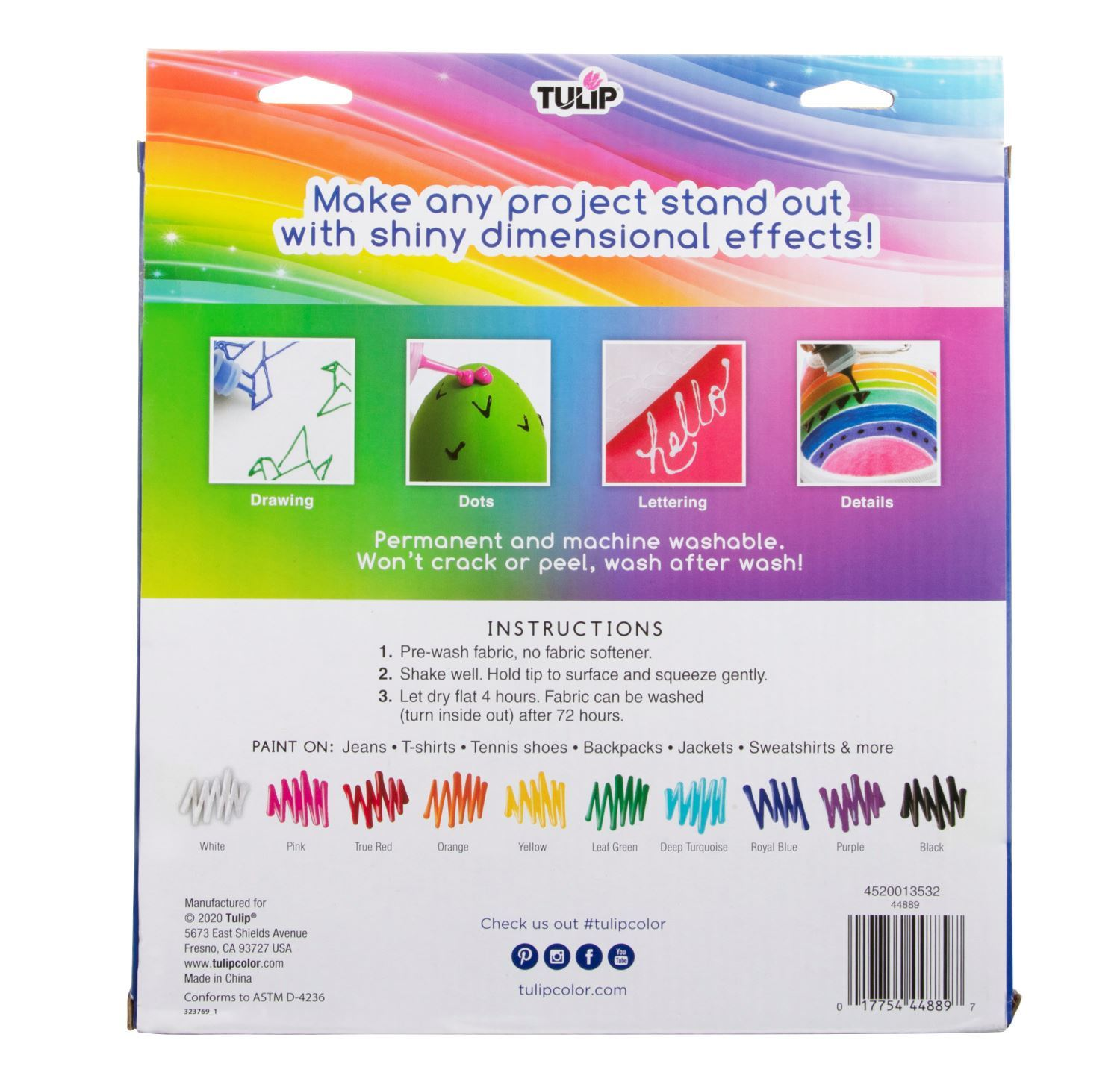 Dimensional Fabric Paint Rainbow Color Collection 10 Pack back of box