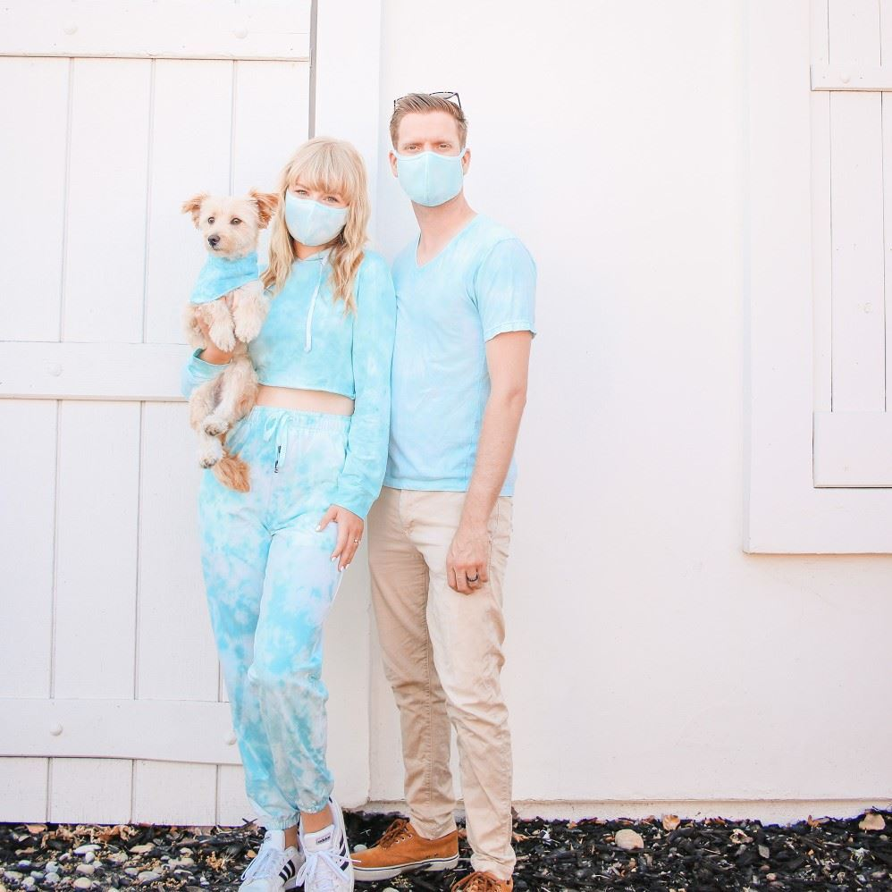 Couple  and dog  wearing  Tie dye