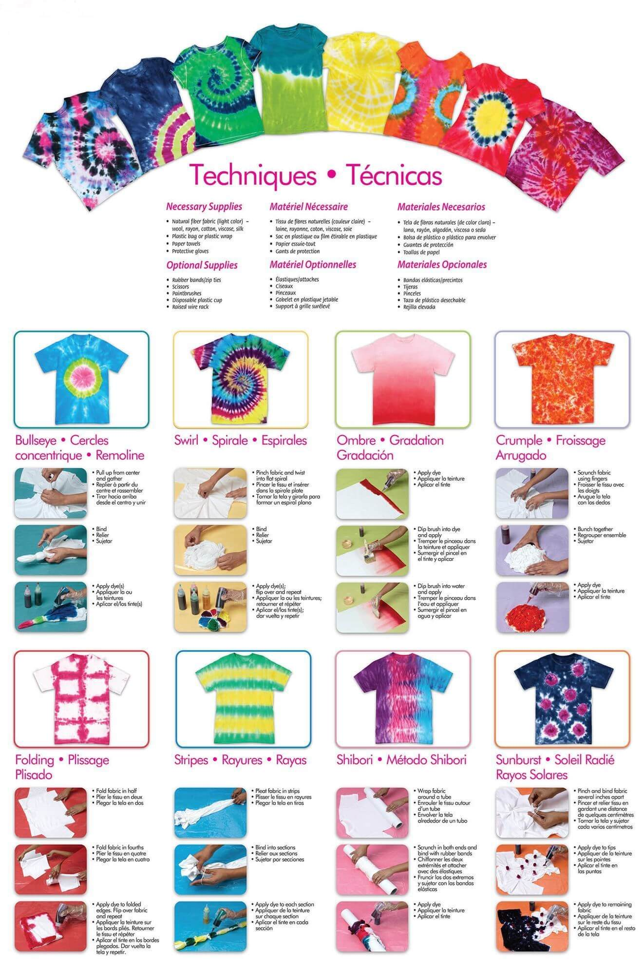 Bright 3-Color Tie-Dye Kit Instructions