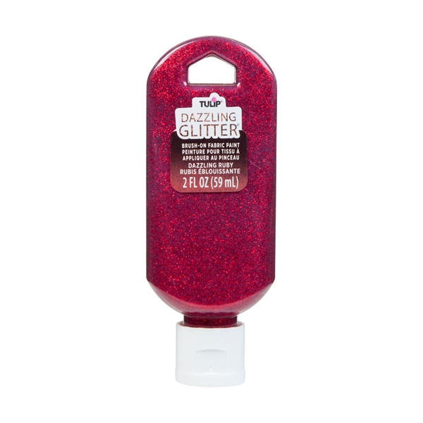 Picture of Dazzling Glitter Brush-On Fabric Paint Dazzling Ruby 2 oz.