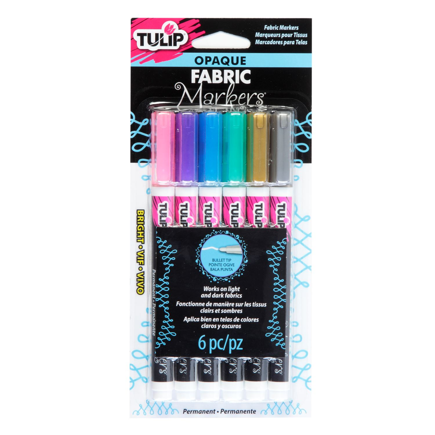 Picture of Opaque Fabric Markers Bullet-Tip Bright 6 Pack
