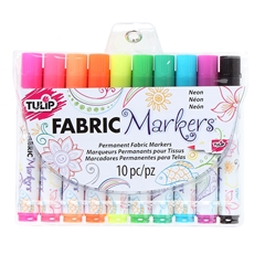 Picture of Brush Tip Neon Fabric Markers 10 Pack