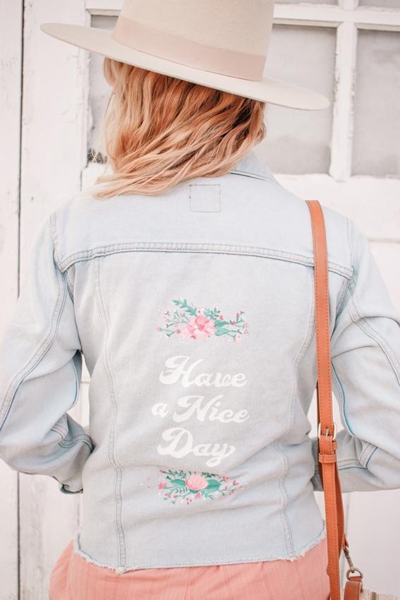 Custom-painted denim jacket