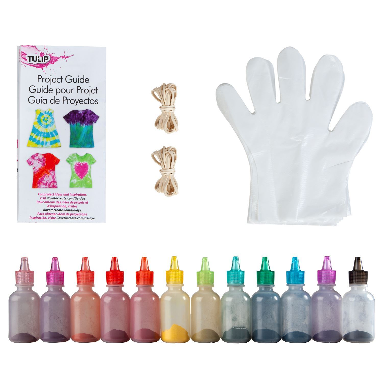 One-Step Tie-Dye Kit Carnival 12-Pc. Mini Kit components