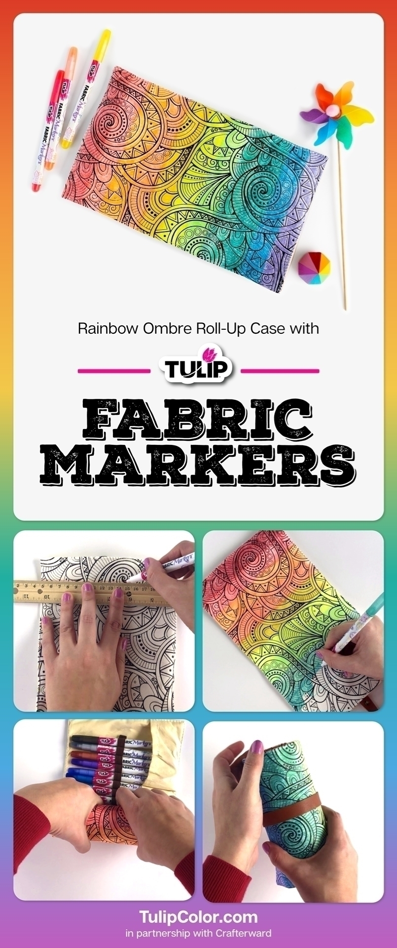 Rainbow Coloring Craft with Fabric Markers