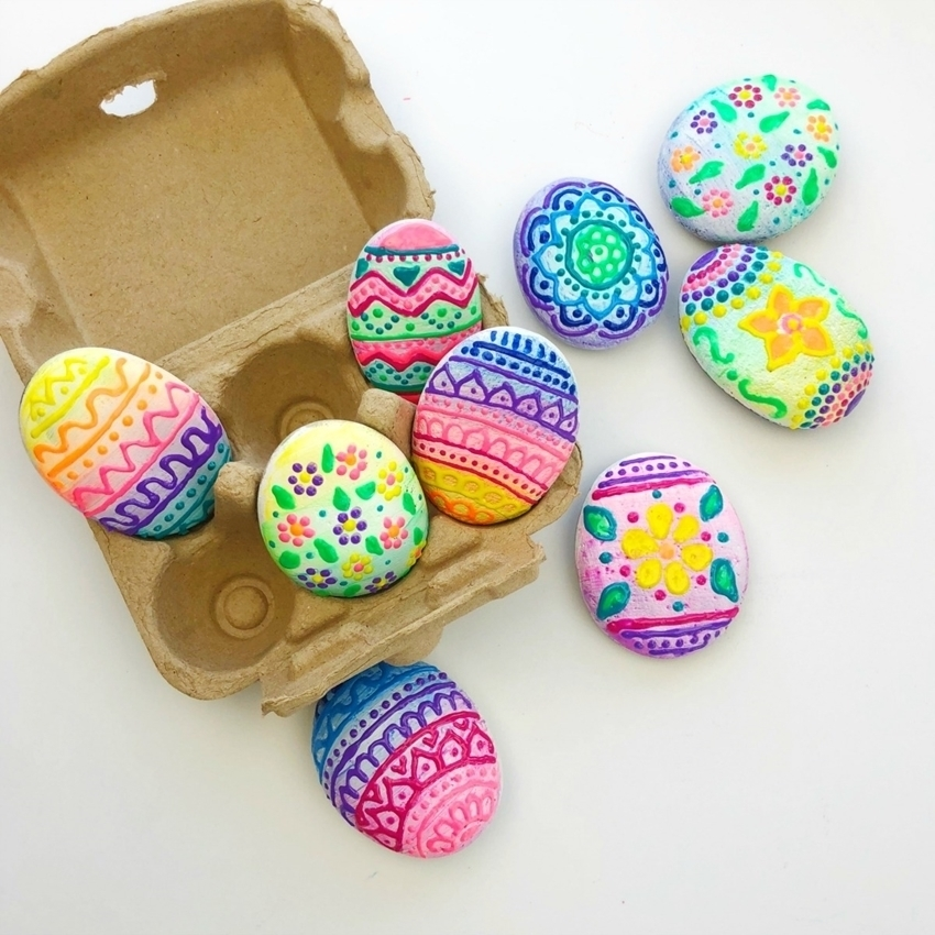 Puffy Paint Easter Egg Rocks