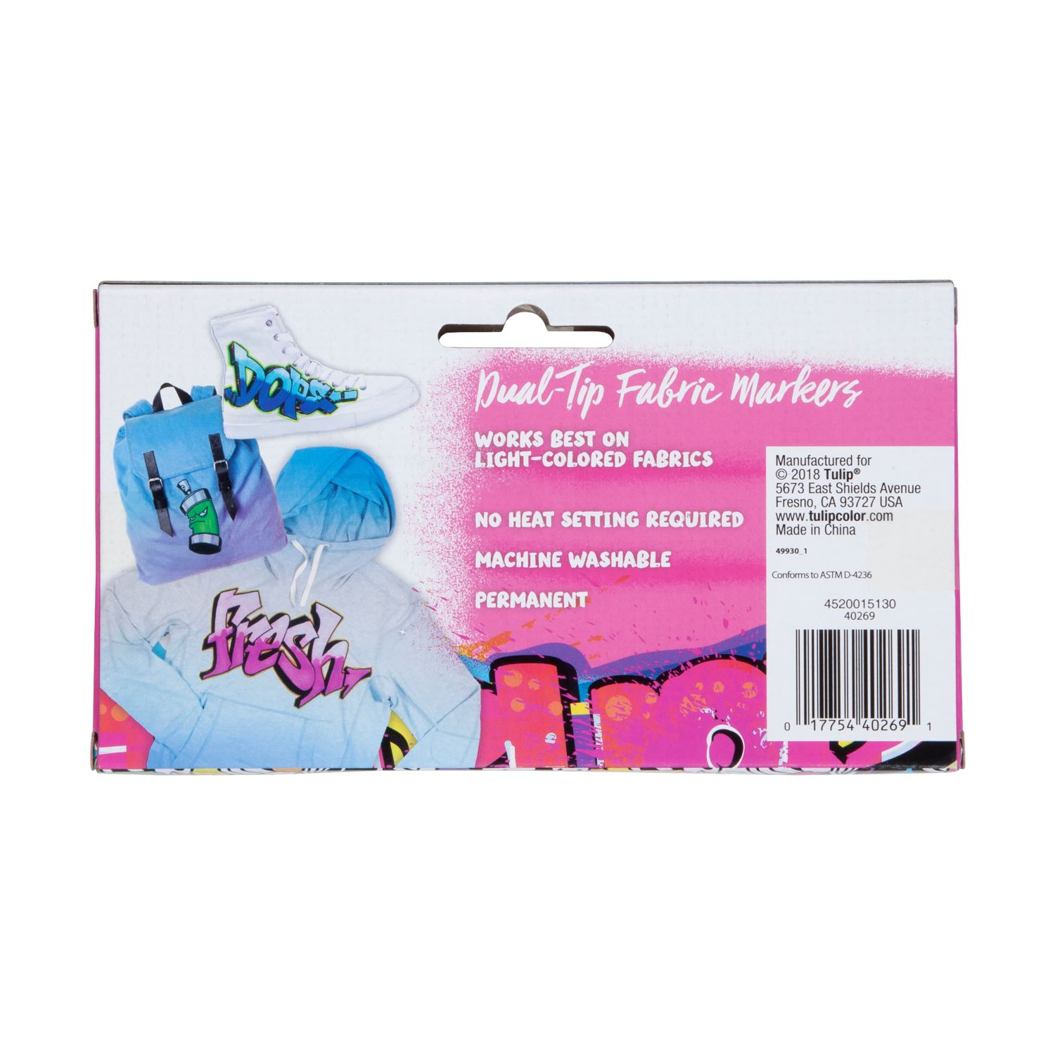 Picture of Dual Tip Graffiti Fabric Markers Neon 6 Pack