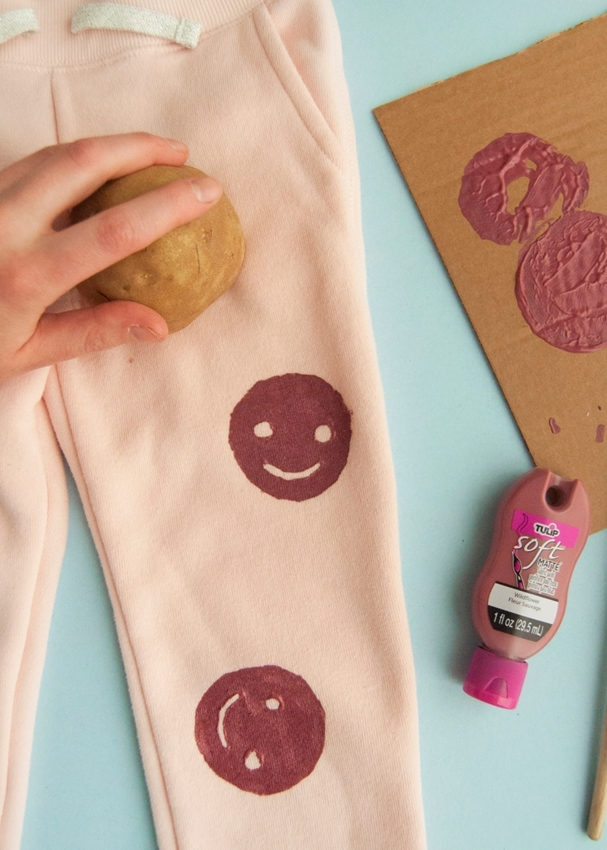 Stamp fabric paint onto PJs
