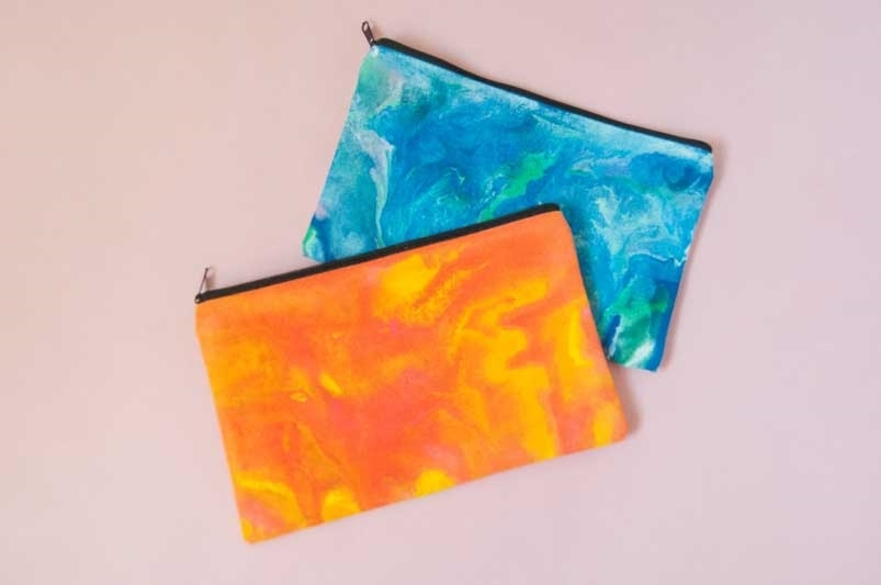 Finished paint pouring pouches