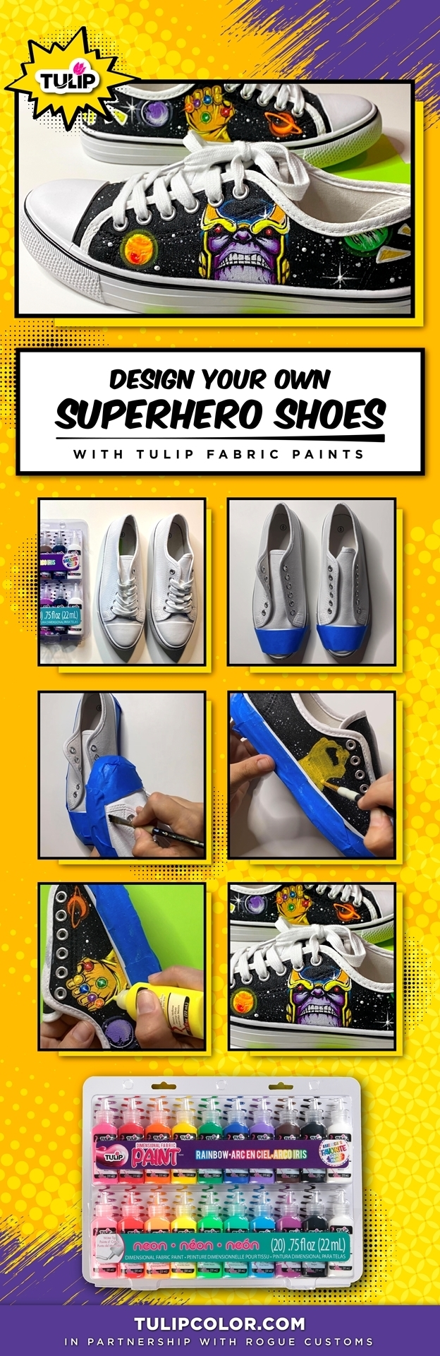 Design Your Own Superhero Shoes with Fabric Paint