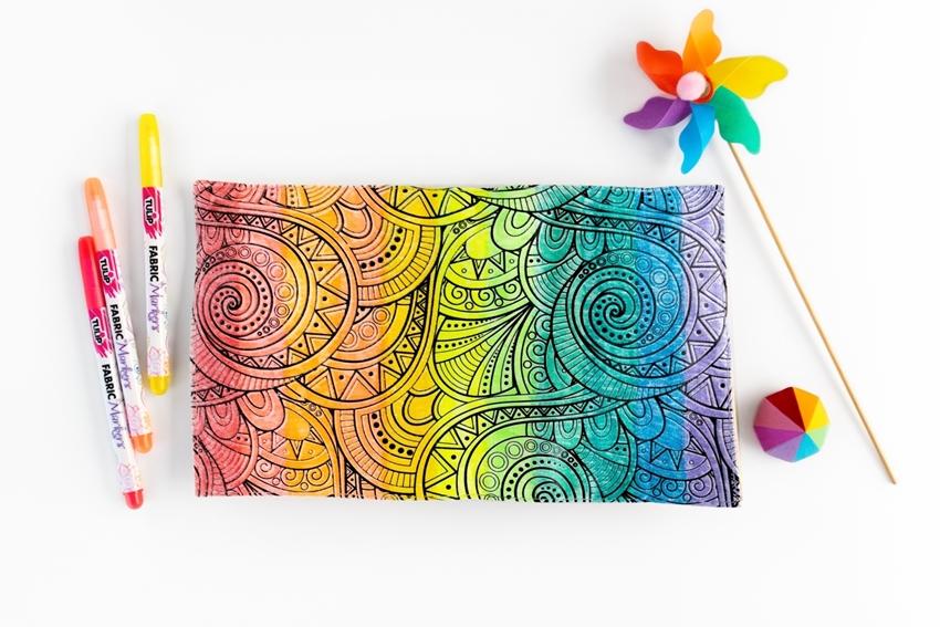 Rainbow Fabric Markers Case