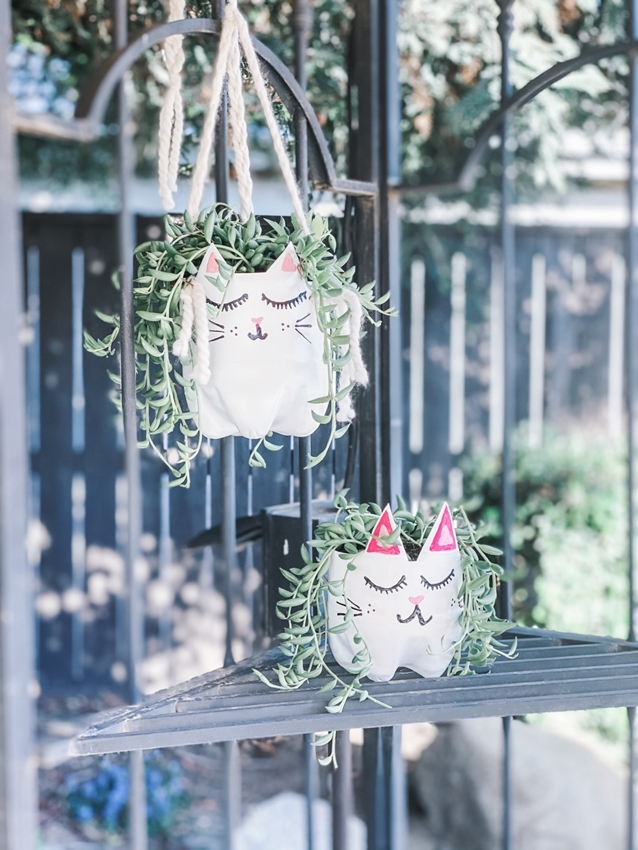 Upcycled Kitty Hanging Planters