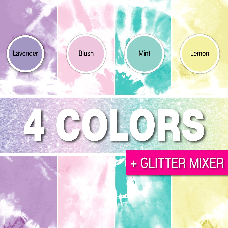 46018 Glitter Tie Dye Kit colors infographic