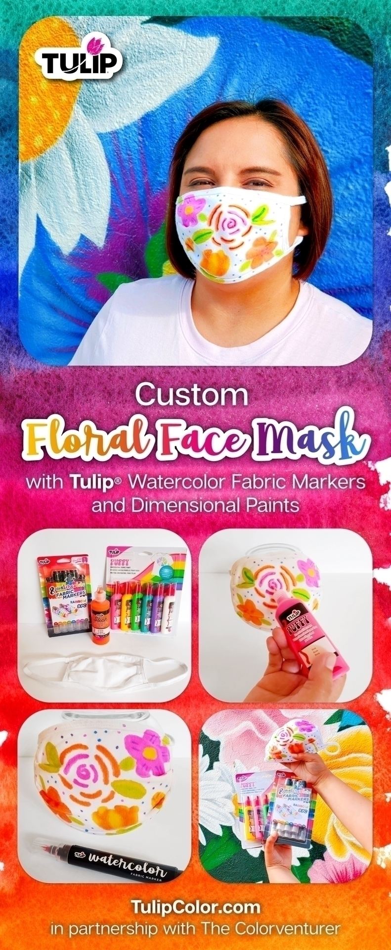 Make a Watercolor Floral Face Mask with Fabric Markers and Fabric Paints