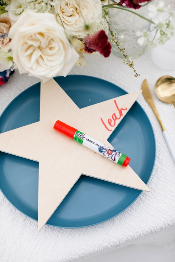 Star Place Cards with Fabric Markers