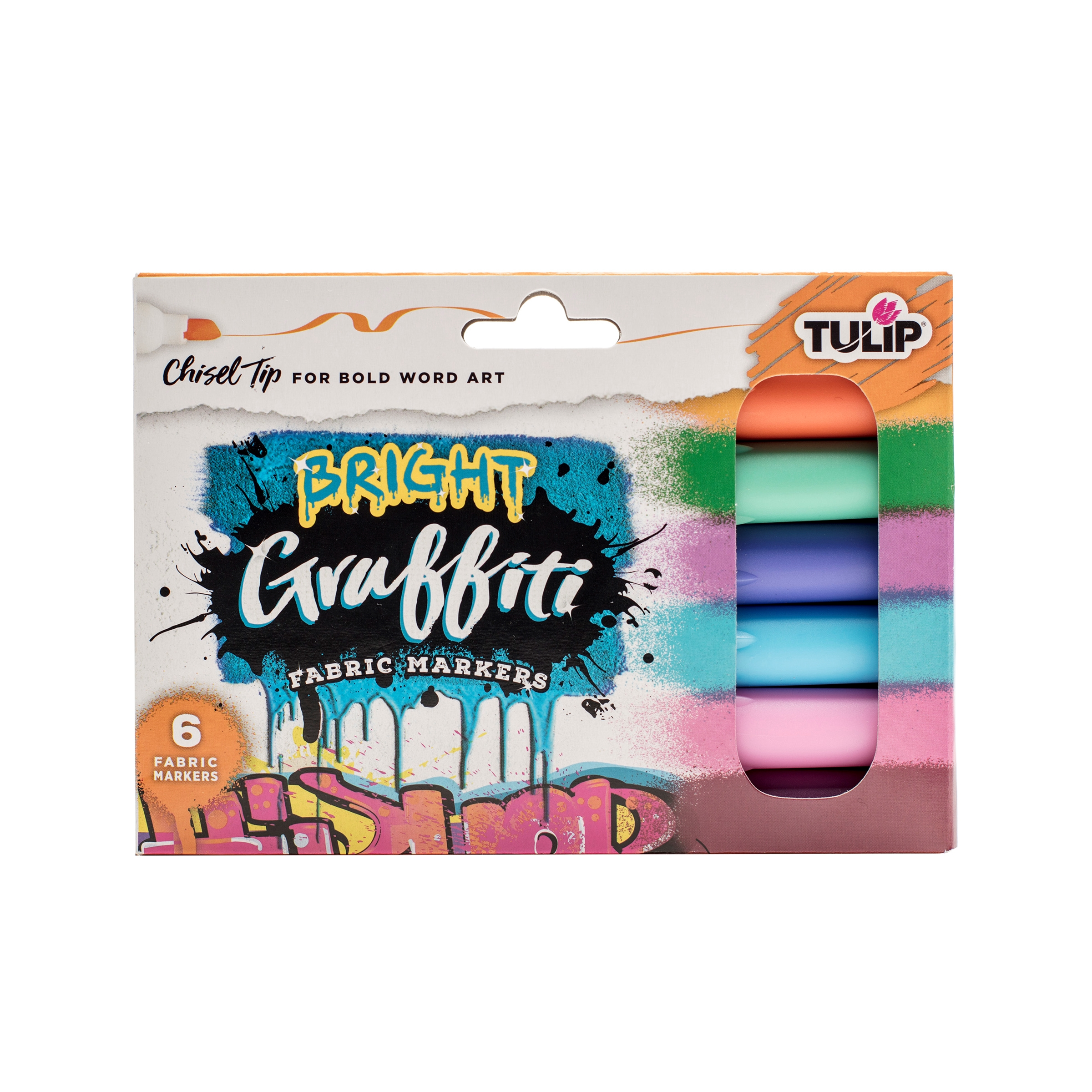 Picture of Graffiti Chisel Tip Bright Fabric Markers 6 Pack
