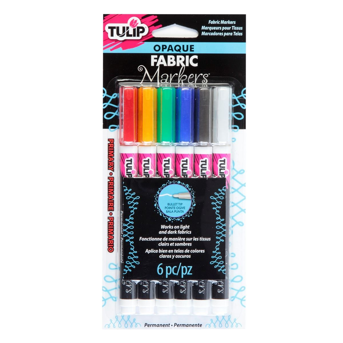 Picture of Opaque Fabric Markers Bullet Tip 6 Pack