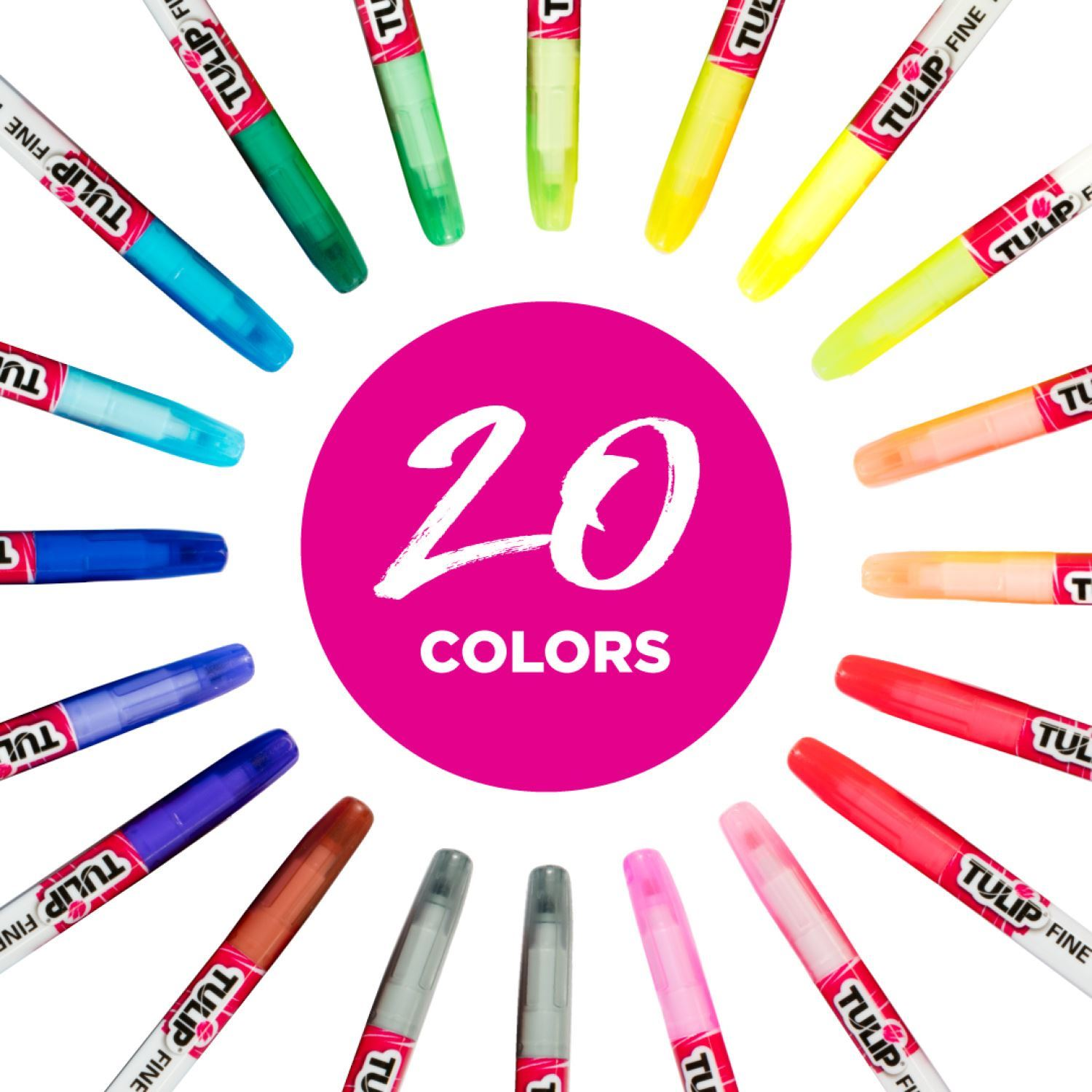 Fine-Tip Fabric Markers Rainbow Color Collection 20 Pack infographic 2