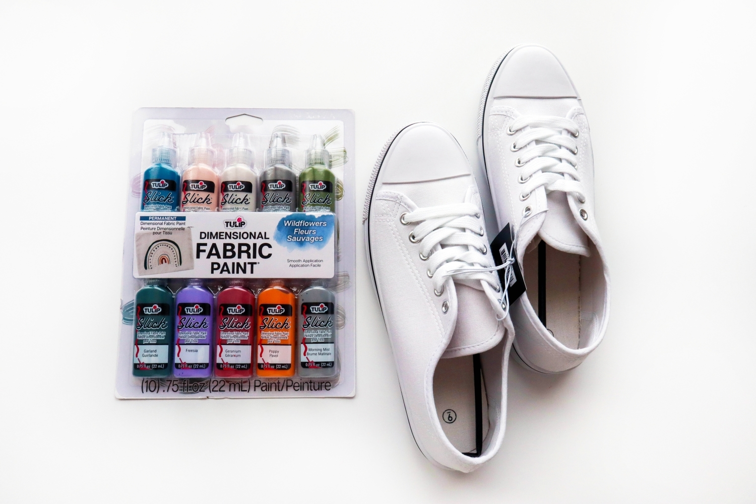 Supplies for painting shoes