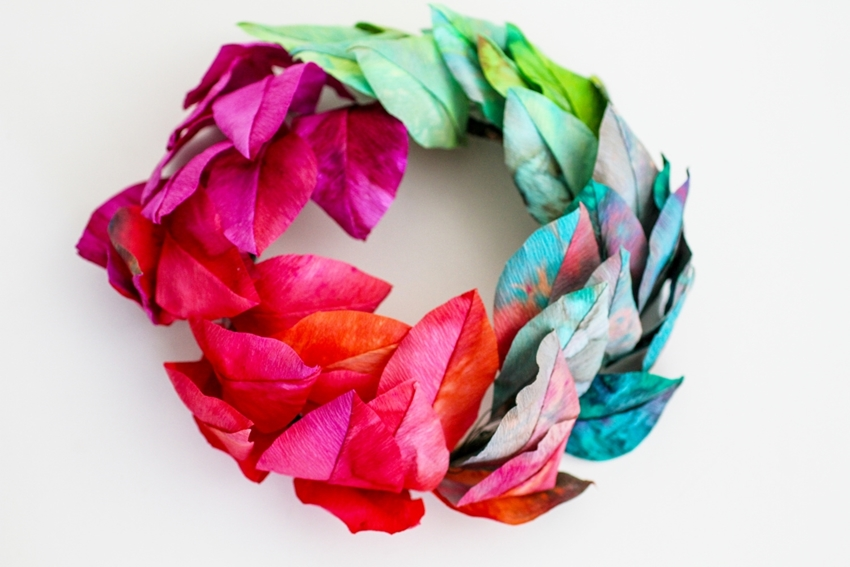 Picture of Rainbow Tie-Dye Paper Wreath