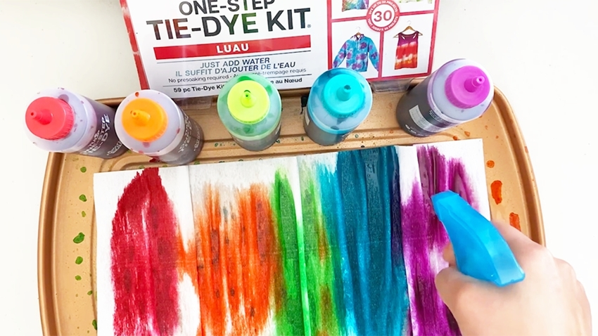Continue misting with water and applying dyes