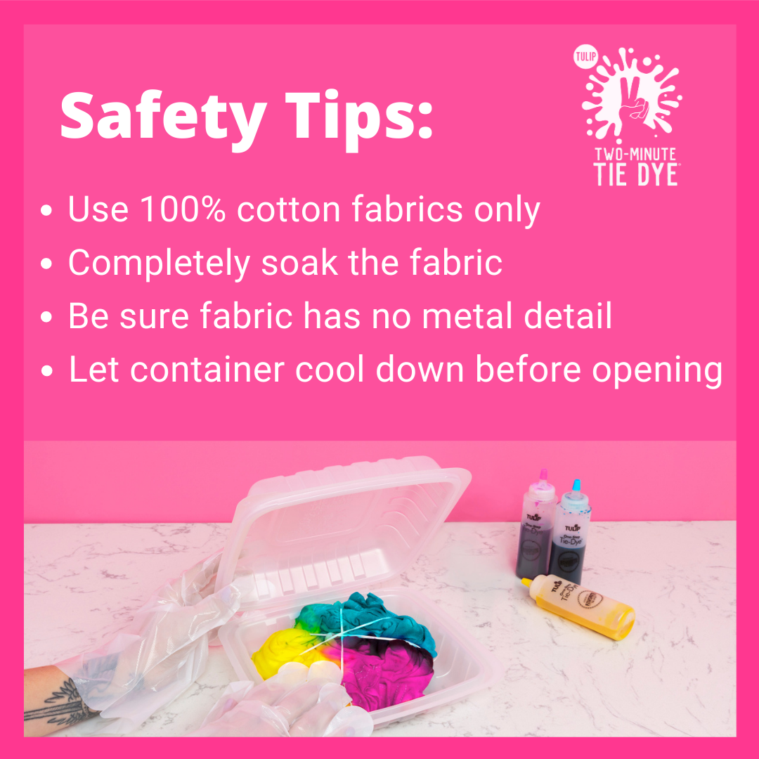 Kit Safety tips: Dump t-shirt in water, Just 100% cotton material, No metals in the Microwave