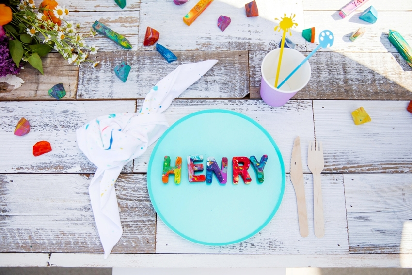 Marbled letters for place settings