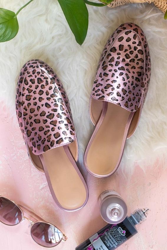 Leopard Print Painted Shoes