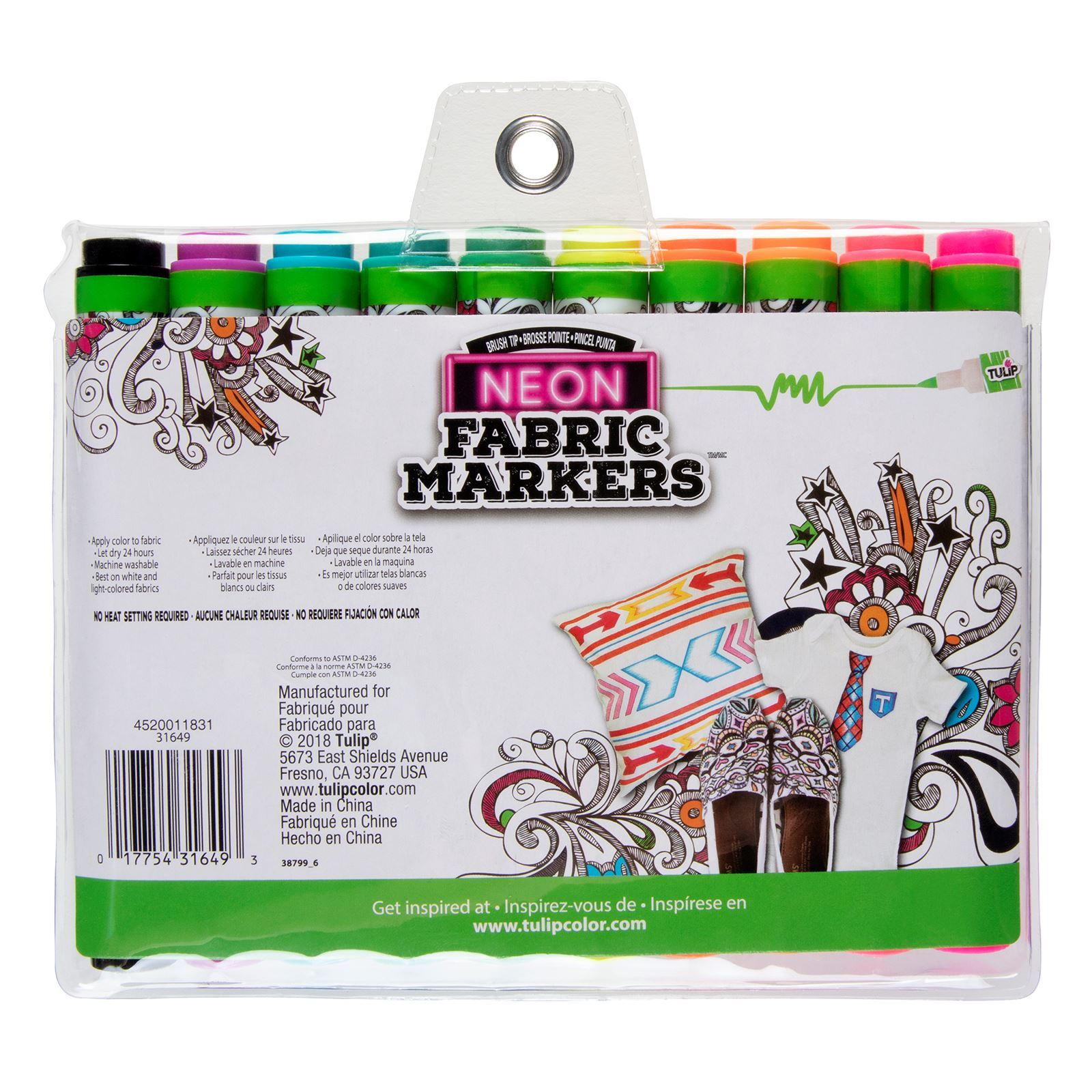 Brush Tip Neon Fabric Markers 10 Pack back of package