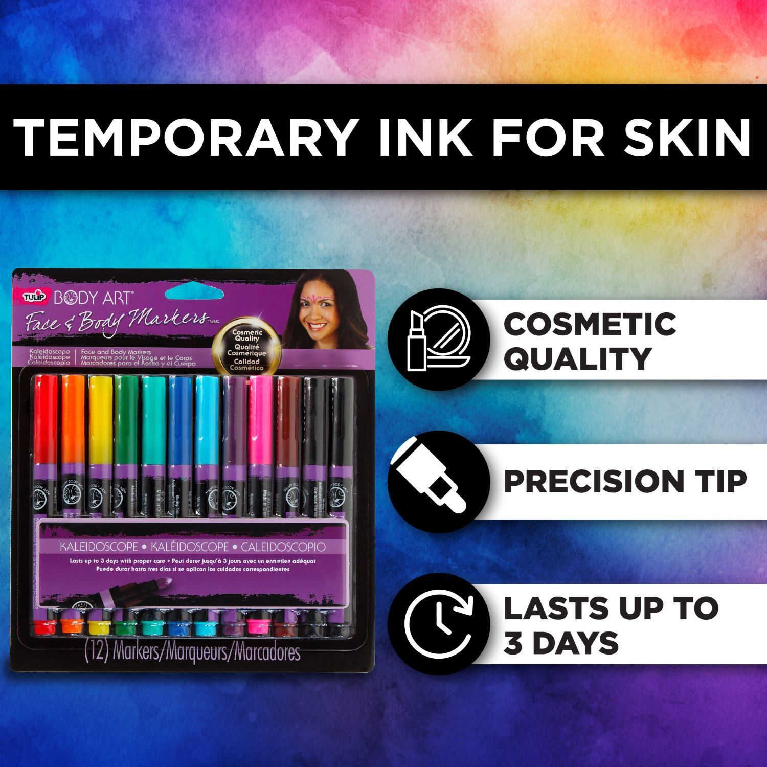 32671 Body Art Face & Body Markers Kaleidoscope 12 Pack Infographic 1
