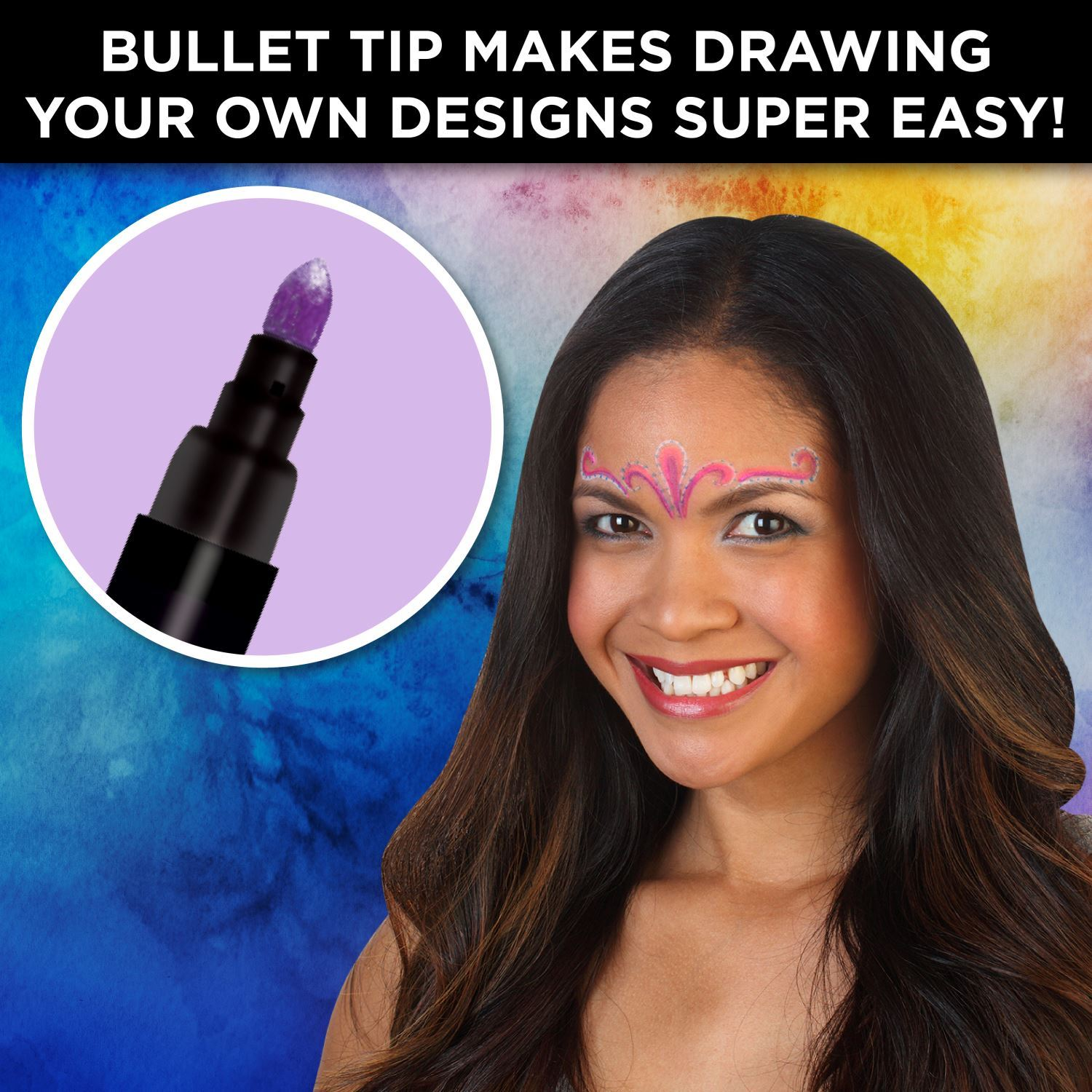 32671 Body Art Face & Body Markers Kaleidoscope 12 Pack Infographic Tip Detail