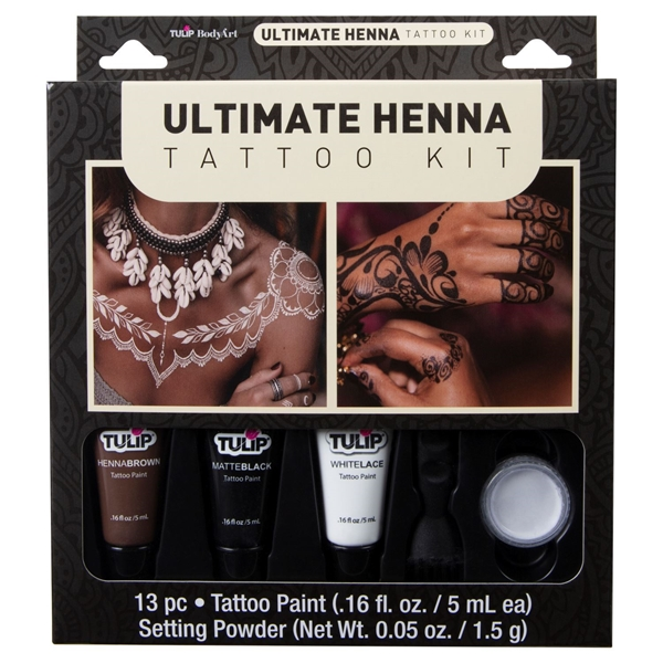 46477 Body Art Ultimate Henna Tattoo Kit Front of Package