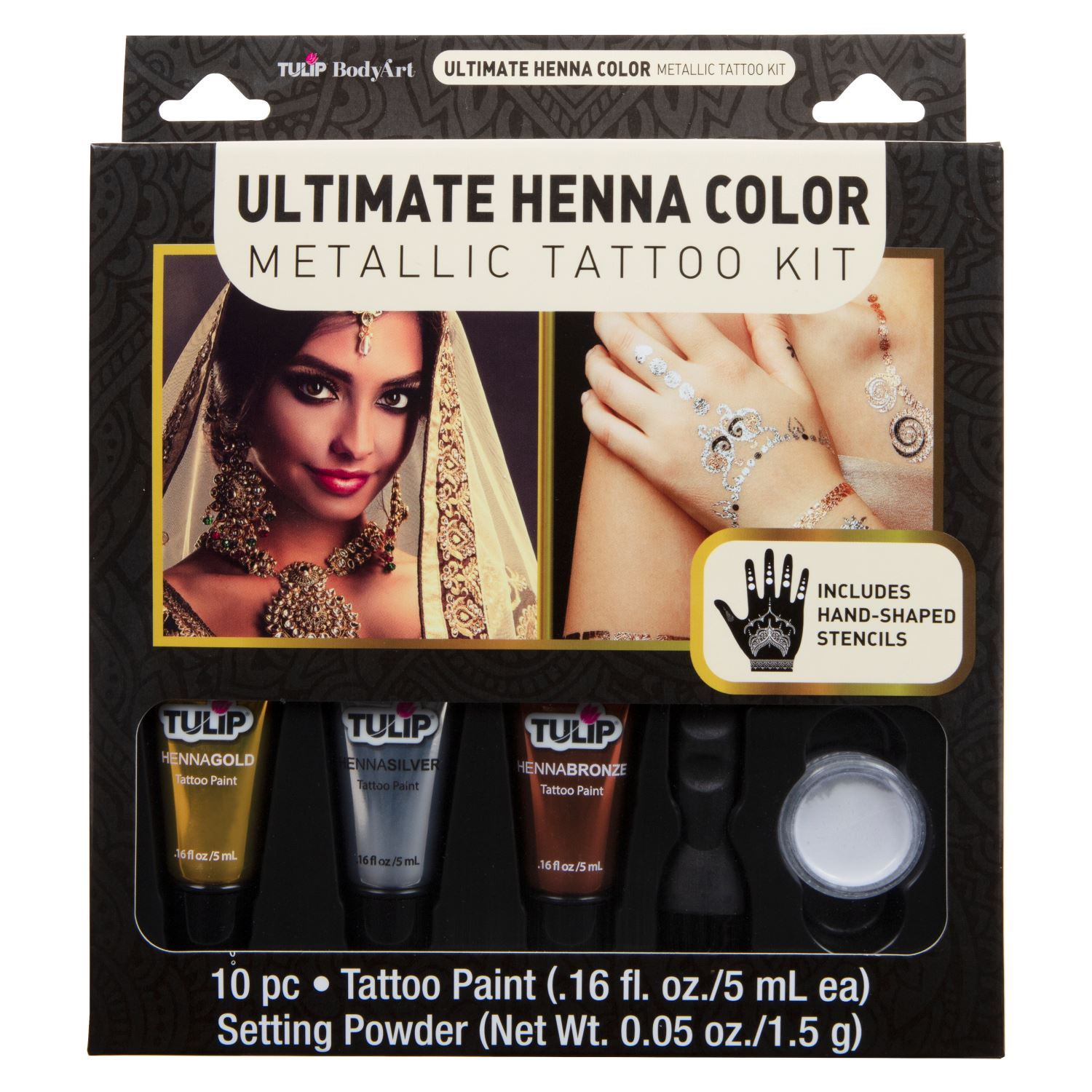 46585 Body Art Ultimate Henna Color Metallic Tattoo Kit  Front of Package