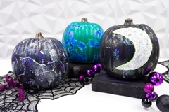 Picture of Glow-in-the-Dark Galaxy Painted Pumpkins